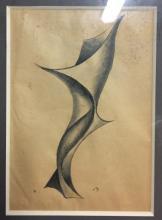 ETIENNE BEOTHY 1897-1961 ECOLE CONSTRUCTIVISTE Projet de sculpture Dessin encre et lavis monogrammé en bas à droite 32 x 22 cm (à vue)