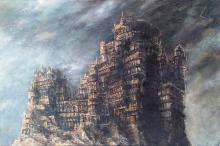 Pierre CLAYETTE (1930-2005) Manoir hermétique Acrylique sur toile signée en haut à droite Daté, titré, signé au revers 65 x 100 cm