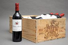 12 bouteilles CHÂTEAU MONTROSE (Caisse Bois sale) 6 e.t.h. légères 2003 GCC2 St Estephe