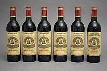 6 bouteilles CHÂTEAU ANGELUS (3 B.G; 1 H.E; 1 e.l.a.) 1989 GCC1A St Emilion