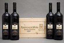 4 bouteilles BRUNELLO DI MONTALCINO POGGIO ALLE MURA 2001 Castello Banfi