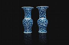 Deux vases yenyen en porcelaine bleu blanc Chine, dynastie Qing, XIXème siècle.