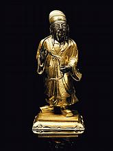 Statuette en bronze partiellement doré Chine, XVIIème - XVIIIème siècle.