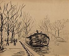 MAXIMILIEN LUCE (1858-1941)  Péniche sur le canal