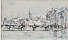 PAUL SIGNAC (1863-1935)  Paris, le pont des Arts