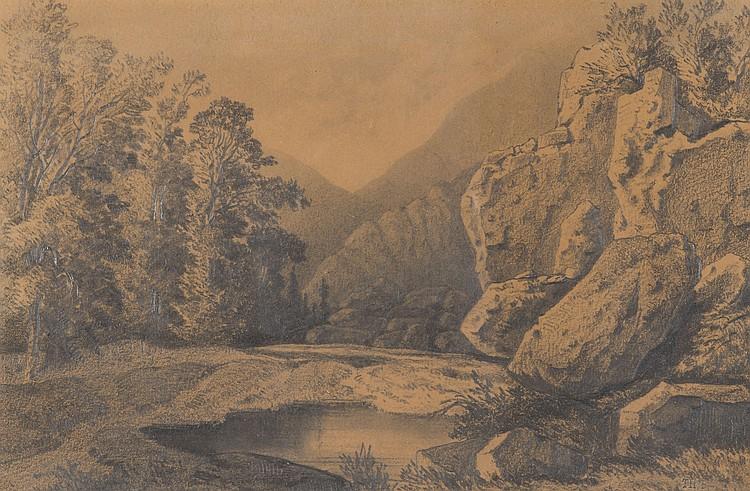 THEODORE ROUSSEAU (1812-1867)  Paysage avec montagne et ruisseau