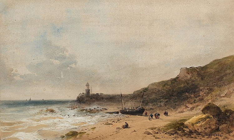 JULES NOËL (1810-1881)  Plage de saint Vaast La Hougue, Bretagne ?
