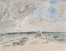 EUGENE BOUDIN (1834-1898)  Plougastel, le passage à l'embouchure de la rivière de Landerneau