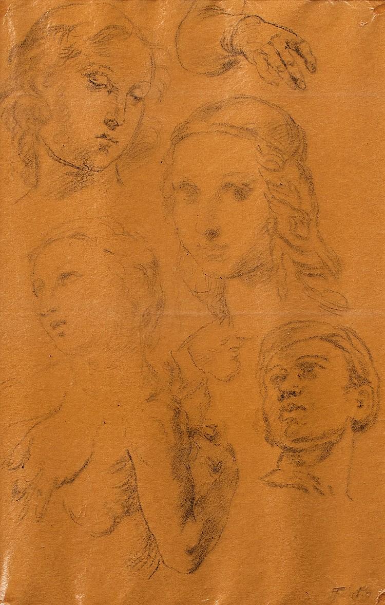 HENRI FANTIN-LATOUR (1836-1904)  Etudes de têtes d'après les maitres anciens