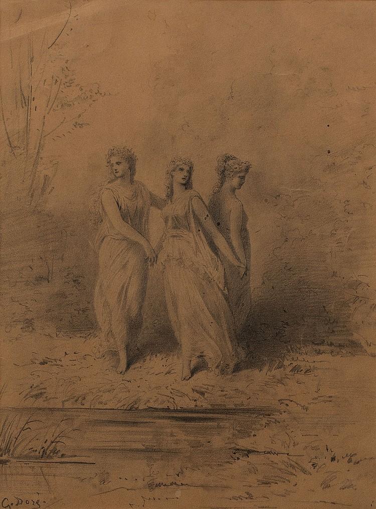 GUSTAVE DORé (1832-1883)  Les trois grâces