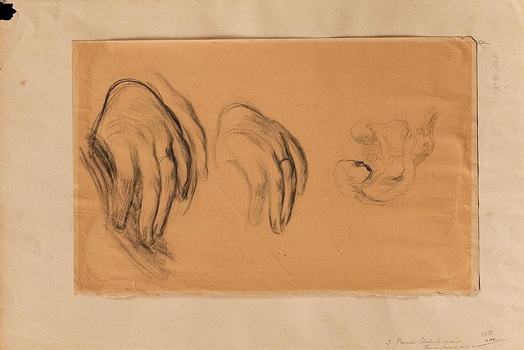EUGèNE CARRIèRE (1849-1906) Etude de mains et de mère à l'enfant