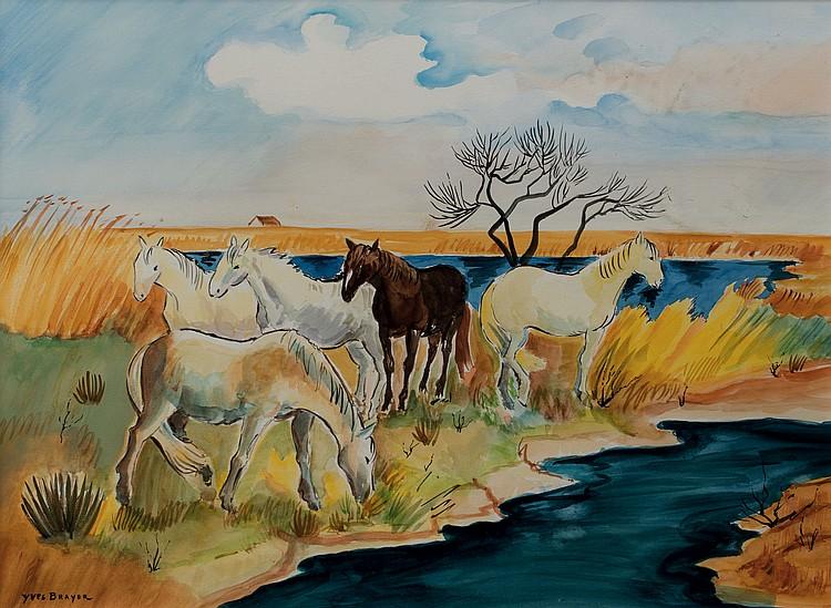 YVES BRAYER (1907-1990)  Chevaux en Camargue