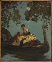 JEAN-GABRIEL DOMERGUE (1889-1962)  Couple dans une gondole au clair de lune