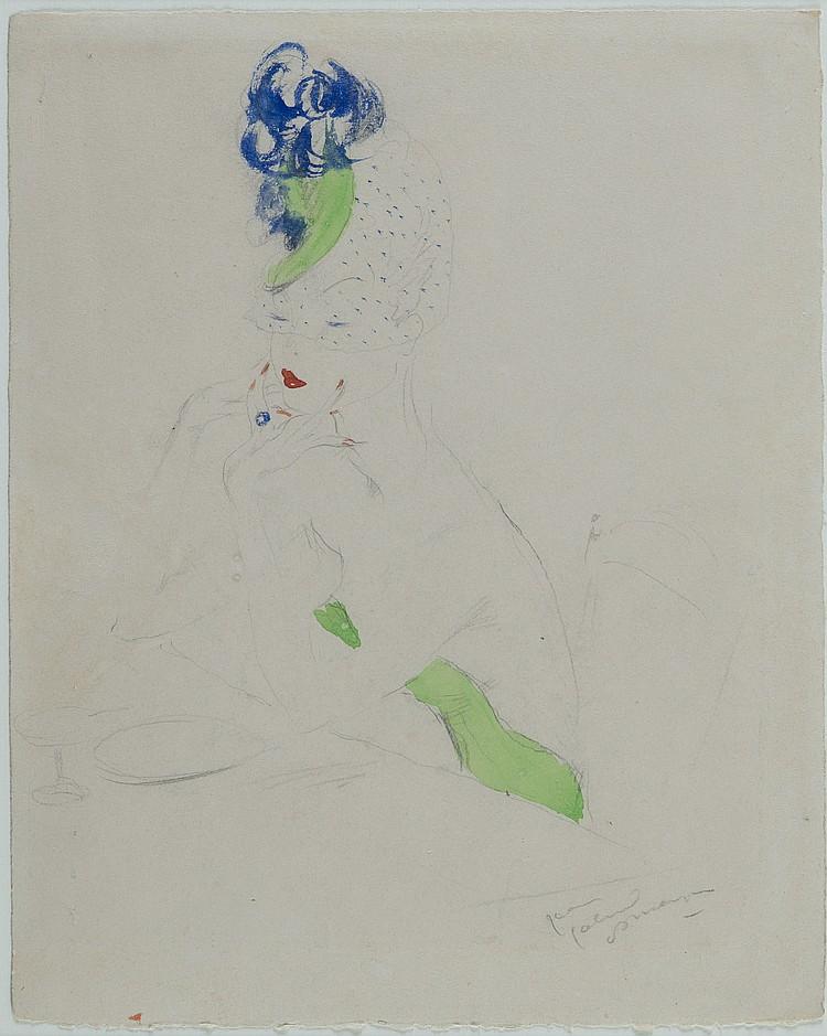 JEAN-GABRIEL DOMERGUE (1889-1962) Elégante au chapeau