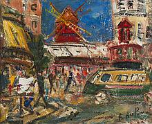 ROLAND DUBUC (1924-1998)  Paris, le Moulin Rouge