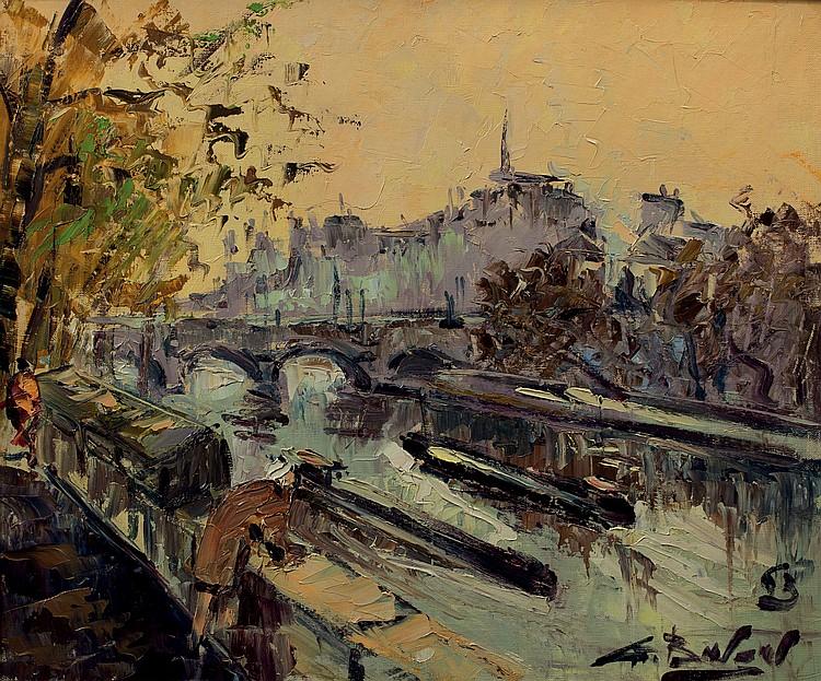 GEORGES BERGER (1908-1976)  Paris, le pont Neuf et l'ile de la Cité