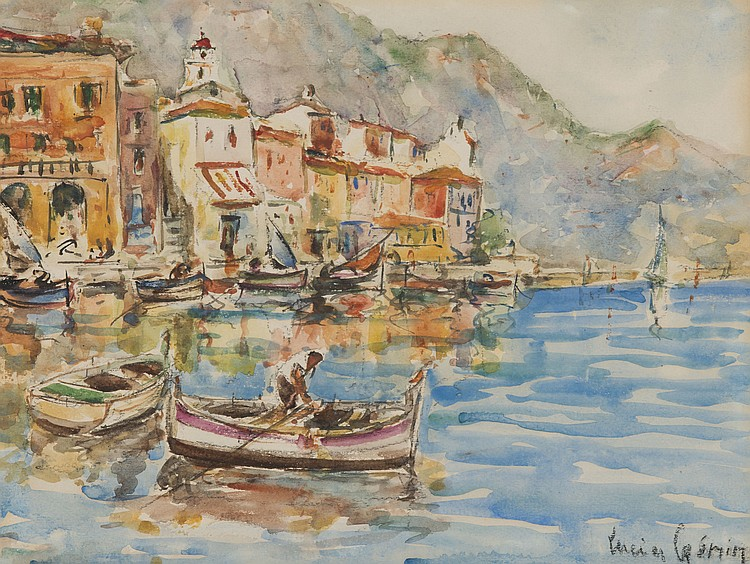 LUCIEN GENIN (1894-1953)  Port de Villefranche-sur-Mer