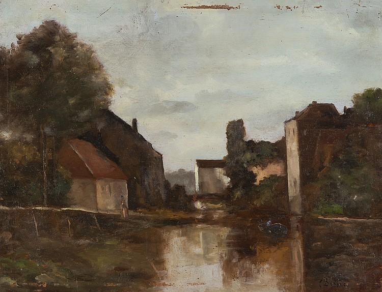 CHARLES BERTIER (1860-1924) Sassenage, bords de l'Isère
