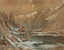éMILE NOIROT (1853-1924)  Torrent entre des montagnes