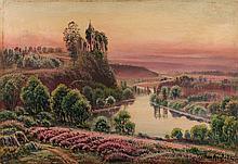GASTON ANGLADE (1854-1919)  Ruine en bord de rivière