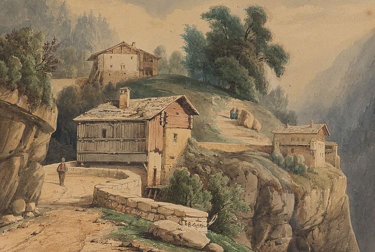 EUGENE CICERI (1813-1890) Paysage de montagne avec hameau et promeneurs