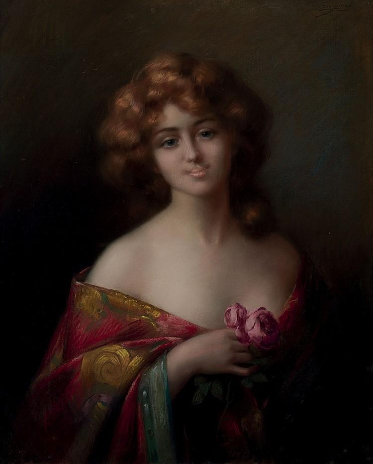 DELPHIN ENJOLRAS (1865-1945)  Jeune fille à la rose