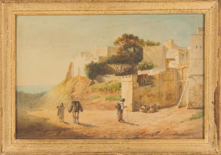 Joseph SINTES (1829-1913)   Personnages à l'entrée de la ville orientale.