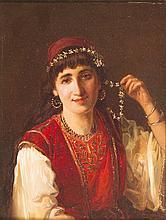 Jan Baptist HUYSMANS (1826-1906) Portrait de femme orientaliste.