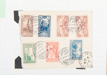 tous pays :  dont colonies françaises, lettres, cartes  postales, fragments, dans un classeur