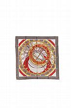 HERMES Paris   Carré en soie imprimée gris, rouge et or, titré   « Mécanique du temps », dessiné par Loïc Dubigeon.   90 x 90 cm.   Bon état