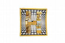 HERMES Paris   Carré en soie imprimée à décor de bagages et titré    « H en voyage ».   66 x 66 cm.   Dans un étui de la marque.