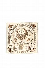 HERMES   Carré en soie imprimée beige, titré « Cavaliers d'or »    et signé Rybal.   Etat d'usage (salissures).