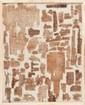 FRAGMENTS DE PAPYRUS  Provenant de divers manuscrits, rouleaux, lettres  en hiéroglyphes, hiératiques, démotique et copte.  Encadrés.  Egypte. Epoques pharaoniques diverses.  39 x 49 cm.