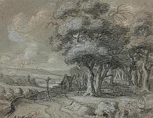 AERNOUT TER HIMPEL (Amsterdam 1634-1686)  Paysage au sous-bois, village et au calvaire