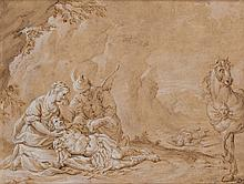 DOMENICO FRATTA (Bologne 1696-1763) Herminie et Vafrin soignent Tancrède blessé