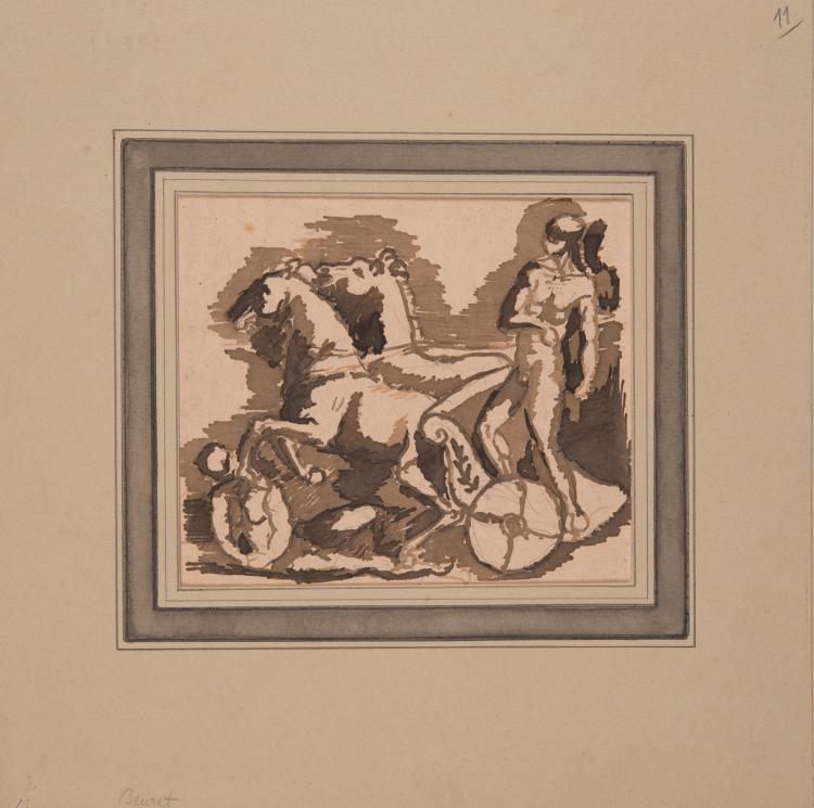 AUGUSTE-EUGÈNE BEURET (1866-1934) attribué à  Guerrier sur un char