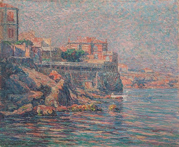 Henri AURRENS (1873-1934) Corniche. Huile sur