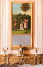 Glace-trumeau en bois dore et stuc. Surmontee d ' une peinture presentant des personnages dans un paysage, dont une fillette tenant un vase de fleurs.