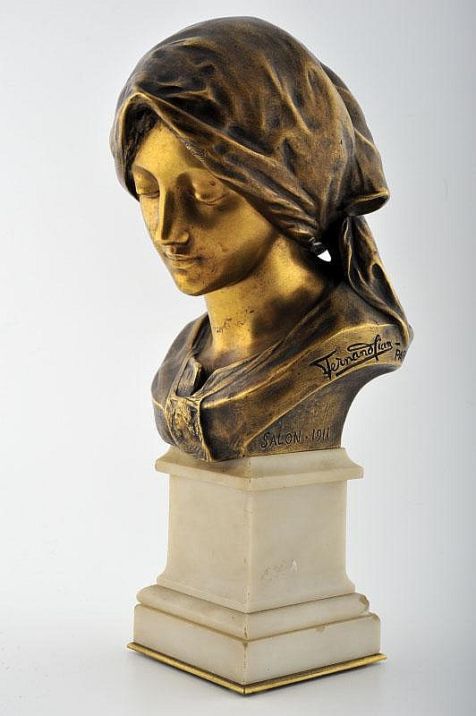 French Art Nouveau Gild Bronze bust by Fernand Cian on marble base.