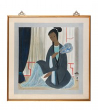 Lin FENGMIAN (1900-1991) Femme à l'éventail. Représentant une femme assise devant des voilages, tenant un éventail dans sa main droite. Encre et couleurs sur papier encadré. Signature et cachet de l'artiste en bas à droite. 65 x 64 cm. Provenance :