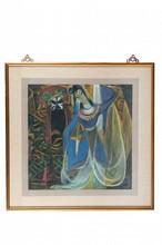 Lin FENGMIAN (1900-1991) Acteurs d'opéra. Représentant une danseuse vêtue de bleu, devant un acteur de l'Opéra portant un masque sur fond noir. Encre et couleurs sur papier encadré. Signature et cachet de l'artiste en bas à droite. 64 x 63 cm.