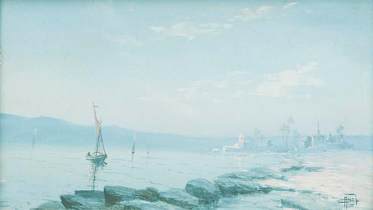 Alphonse PELLET (XIX)Vue Orientaliste.Aquarelle sur papier.Signée en bas à droite.23 x 39 cm.