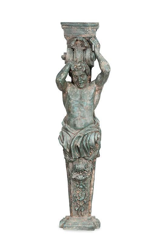 Travail de la fin du XIXème siècleSuite de quatre atlantes en fonte de cuivre représentantles quatre saisons.H. : 220 cm.Provenance :- Ces atlantes ornaient le bassin d'un domaine viticoledans le Var.