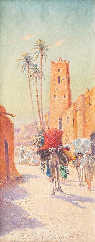Alexis Auguste DELAHOGUE (1867-1953)Le convoi berbère / La caravane.Paire d'huiles sur toile.Signées en bas à droite et à gauche.55 x 23 cm.