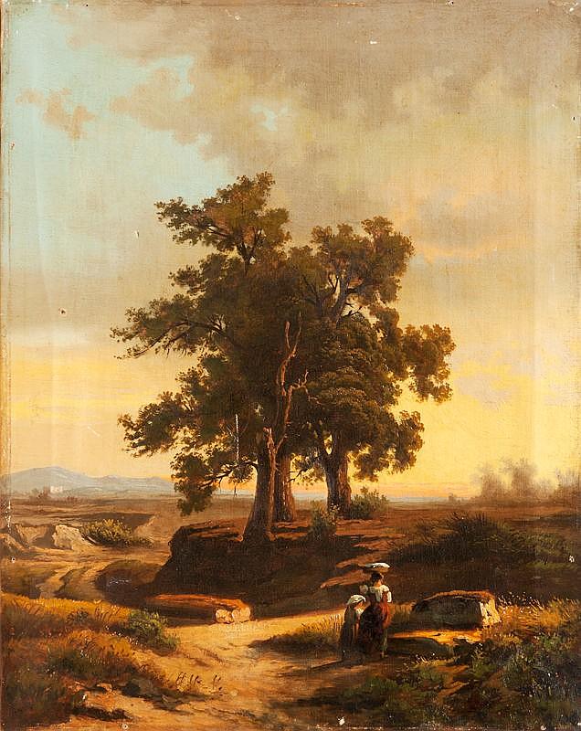 Smink PITLOO (1791-1837) Attribué àPaysage aux grands arbres.Toile.52 x 41 cm.