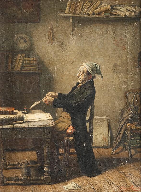 Franz MEERTS (1836-1896)Ecrivain taillant sa plume.Huile sur toile.Signée en bas à droite.40 x 30 cm.