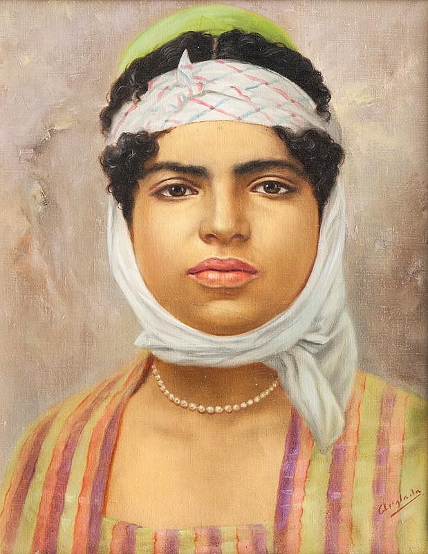 Luis ANGLADA PINTO (1873-1946)Portrait d'une orientale.Huile sur toile.Signée en bas à droite.40 x 33 cm.