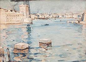 Jean AUBERY (1880-?)L'entrée du Vieux Port.Huile sur toile.Signée en bas à gauche. 46,5 x 61,5 cm.