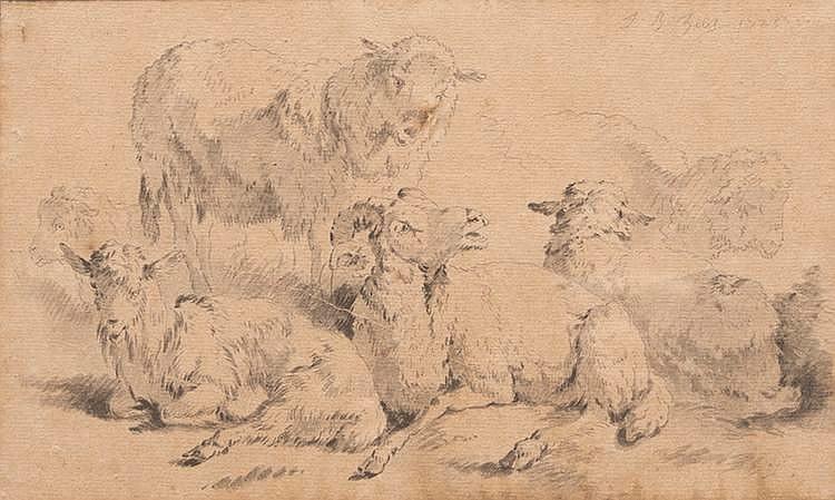 Jean-Baptiste I HUET (1745-1811)Moutons et bélier.Encre.Signée et datée 1775 en haut à droite.13 x 21,5 cm.