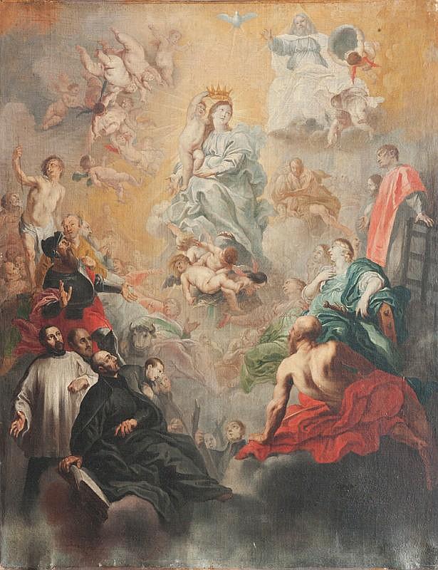 Ecole espagnole du XVIIème siècleLe Couronnement de la Vierge.Toile.77,5 x 60,5 cm.